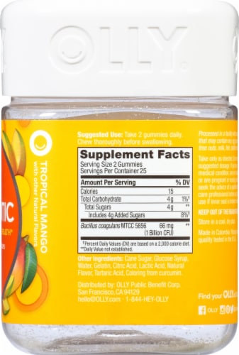 Olly Tropical Mango Probiotic Gummies Perspective: right
