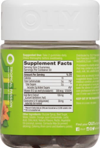 Olly Daily Energy Vitamin Gummies Perspective: right