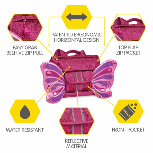 Bixbee Small Sparkalicious Butterflyer Backpack - Ruby Perspective: right