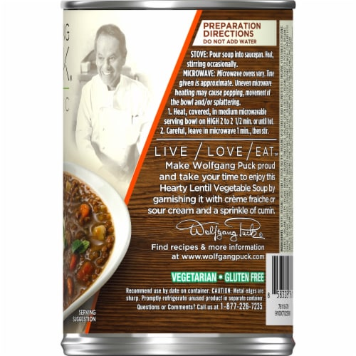 Wolfgang Puck Thick Hearty Lentil & Vegetable Organic Soup Perspective: right