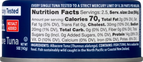 Safe Catch® No Salt Added Wild Albacore Tuna Perspective: right