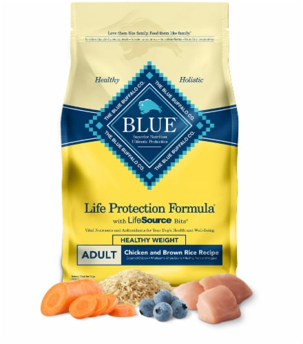Blue Buffalo Chicken and Brown Rice Recipe Life Protection Formula Natural Dog Food Perspective: right