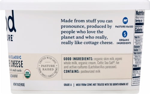 Good Culture Organic Whole Milk Cottage Cheese Perspective: right