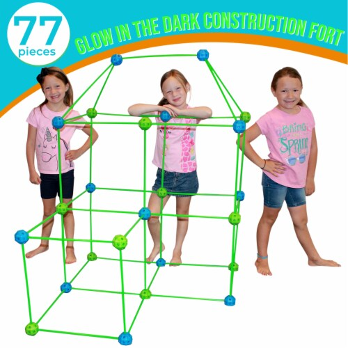 Funphix Glow in the Dark Fort Building Kit - Blue/Green Perspective: right