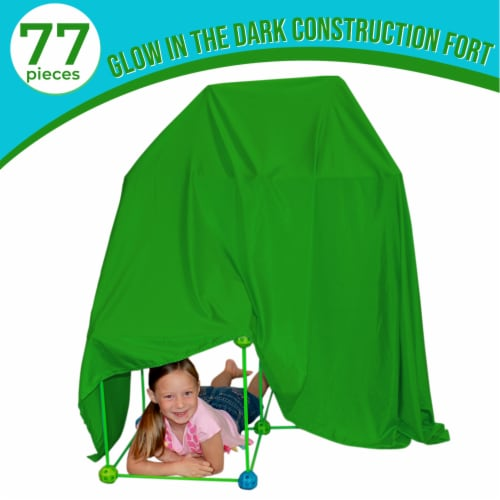 Funphix Glow in the Dark Fort Building Kit with Sheet - Blue/Green Perspective: right
