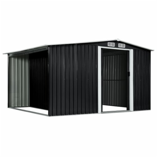 """vidaXL Garden Shed with Sliding Doors Anthracite 129.7""""x80.7""""x70.1"""" Steel Perspective: right"""