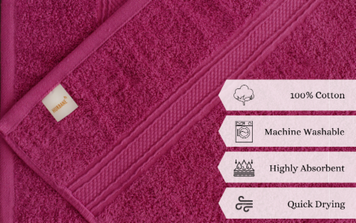 4 PIECE LUXURY LARGE SIZE BATH TOWEL SET FOR HOME HOTEL SPAS GUEST by Hurbane Home, Purple Perspective: right