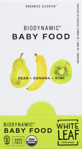 White Leaf Biodynamic Pear Banana Kiwi Baby Food Pouches Perspective: right