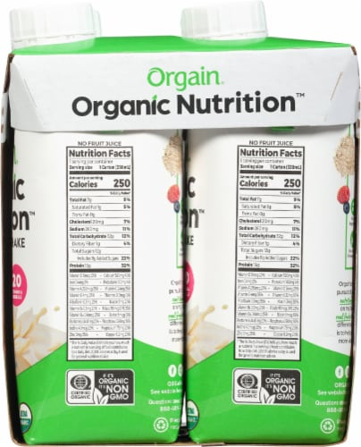 Orgain Organic Nutrition Sweet Vanilla Bean Flavor Nutritional Shakes Perspective: right