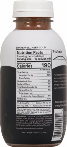 WellWell Protein Dark Cacao Plant-Based Protein Drink Perspective: right