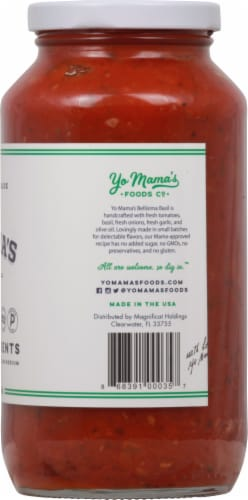 Yo Mama's Foods Bellisima Basil Tomato Sauce Perspective: right