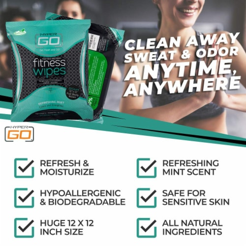 HyperGo Full Body Fitness Wipes, Refreshing Mint Scent, (10 Individually Wrapped Wipes) Perspective: right
