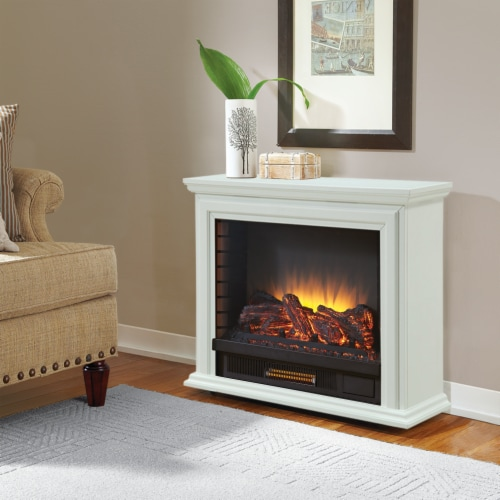 Pleasant Hearth Sheridan Mobile Infrared Fireplace - White Perspective: right