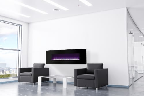 Muskoka Curved Front Wall Mount Electric Fireplace with Black Glass Perspective: right