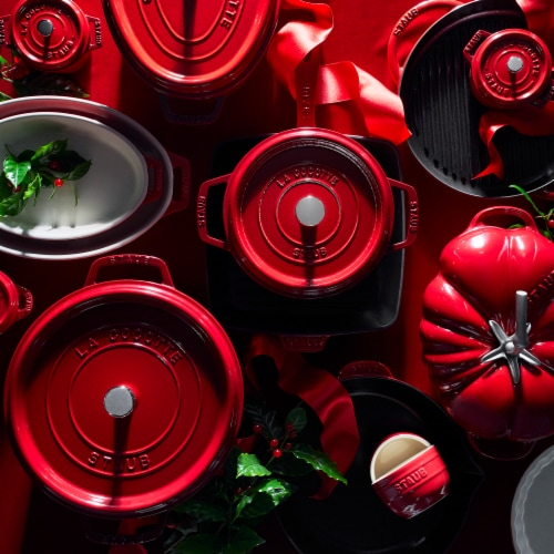 Staub Cast Iron 7-qt Oval Cocotte - Cherry Perspective: right