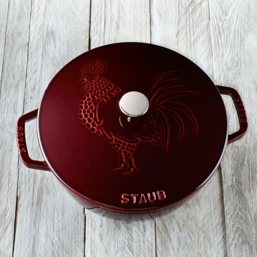 Staub Cast Iron 3.75-qt Essential French Oven Rooster - Grenadine Perspective: right