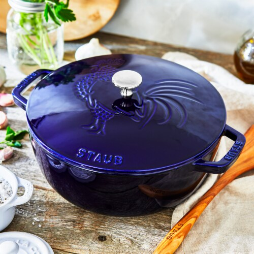 Staub Cast Iron 3.75-qt Essential French Oven Rooster - Dark Blue Perspective: right