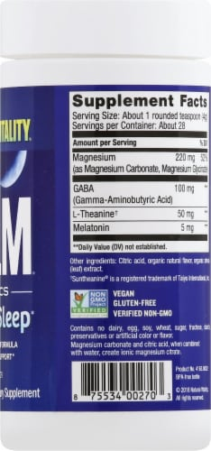 Natural Vitality Calm Mixed Berry Flavor Sleep Support Dietary Supplement Perspective: right