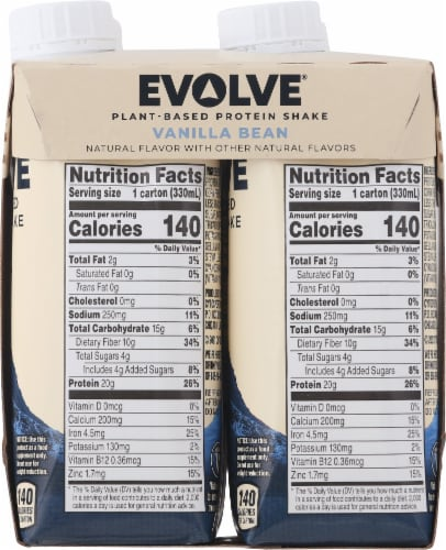 Evolve Protein Shakes Vanilla Plant Based Protein Shake Perspective: right
