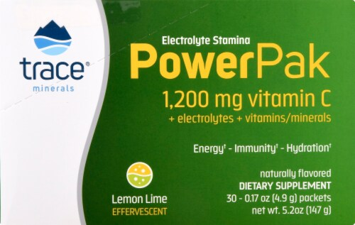 Trace Minerals Electrolyte Stamina Power Pak Lemon Lime Dietary Supplement Packets Perspective: right