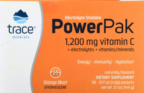 Trace Minerals Electrolyte Stamina Power Pak Orange Blast Dietary Supplement Packets Perspective: right