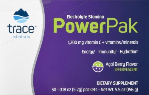 Trace Minerals Electrolyte Stamina Power Pak Acai Berry Dietary Supplement Packets Perspective: right