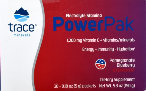 Trace Minerals Research  Electrolyte Stamina Power Pak   Pomegranate Blueberry Perspective: right