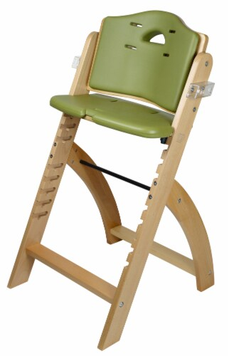 Abiie Beyond Wooden High Chair with Tray. (Natural Wood - Olive Cushion) Perspective: right