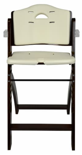 Abiie Beyond Wooden High Chair with Tray. (Mahogany Wood - Cream Cushion) Perspective: right