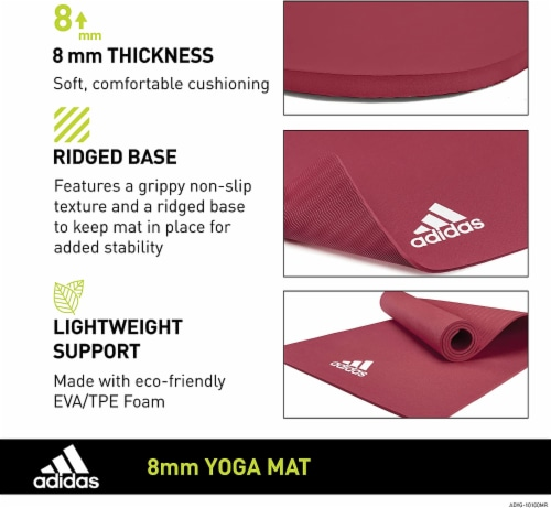 Adidas Universal Exercise Slip Resistant Fitness Yoga Mat, 8mm, Mystery Ruby Perspective: right