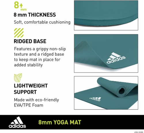 Adidas Universal Exercise Slip Resistant Fitness Yoga Mat, 8mm Thick, Raw Green Perspective: right