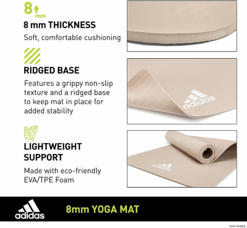 Adidas Universal Exercise Slip Resistant Fitness Yoga Mat, 8mm, Vapor Grey Perspective: right