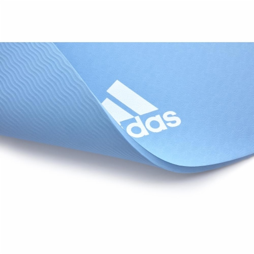 Adidas Universal Exercise Slip Resistant Fitness Yoga Mat, 8mm Thick, Glow Blue Perspective: right
