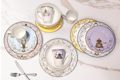 Disney Princess Themed 16 Piece Ceramic Dinnerware Set Collection 1 | Plates | Bowls | Mugs Perspective: right