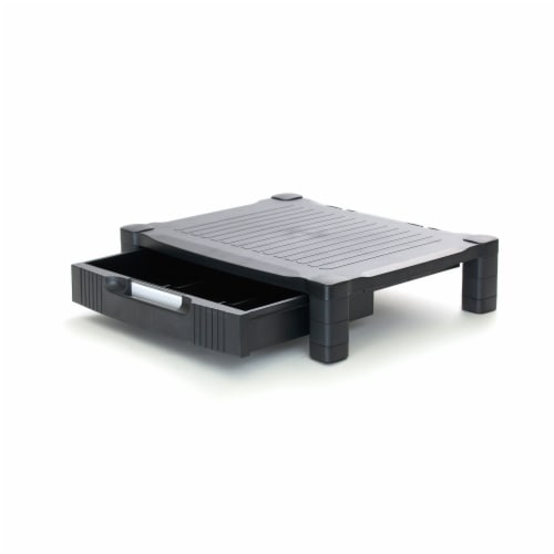 Mind Reader Plastic Monitor Stand Riser with Storage Drawer Perspective: right