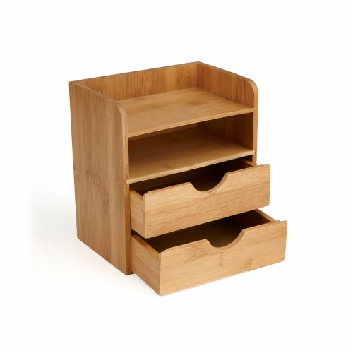 Mind Reader 4-Tier Bamboo Desk Organizer with 2 Drawers - Brown Perspective: right