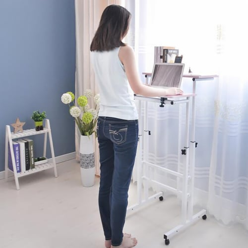 Mind Reader Rolling Sitting & Standing Workstation Perspective: right