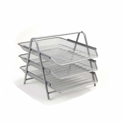 Mind Reader 3-Tier Mesh Paper File Tray Desk Organizer - Silver Perspective: right