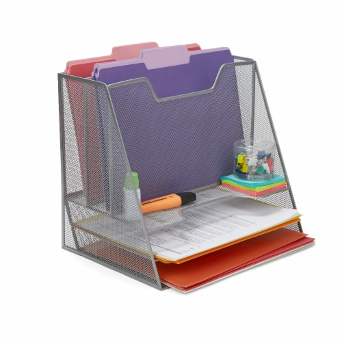Mind Reader 5 Compartments Desk Organizer Tray - Silver Perspective: right