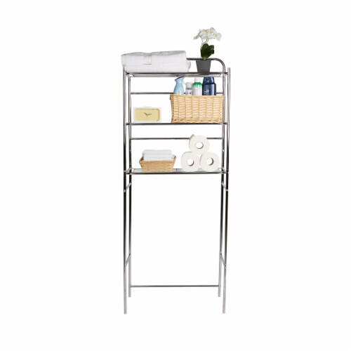 Mind Reader 3-Tier Over the Toilet Rack - Silver Perspective: right