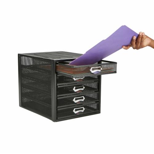 Mind Reader 5 Drawer Metal Mesh Storage Cabine - Black Perspective: right