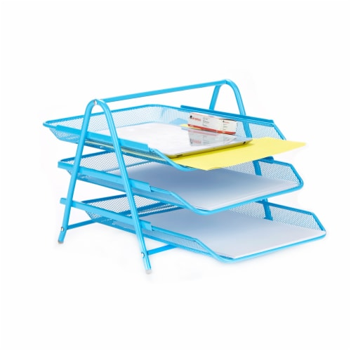 Mind Reader 3-Tier Mesh Paper File Tray Desk Organizer - Blue Perspective: right