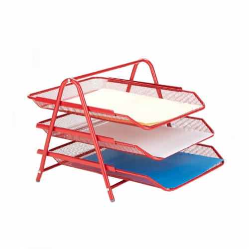 Mind Reader 3-Tier Mesh Paper File Tray Desk Organizer - Red Perspective: right