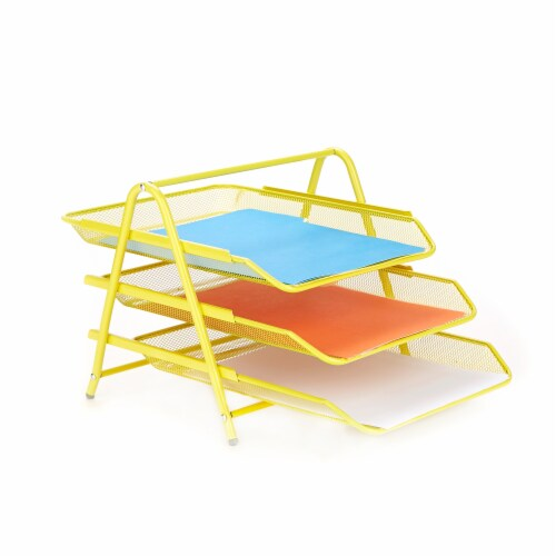 Mind Reader 3-Tier Mesh Paper File Tray Desk Organizer - Yellow Perspective: right