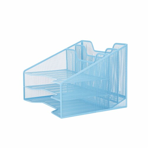 Mind Reader 5 Compartments Desk Organizer Tray - Blue Perspective: right