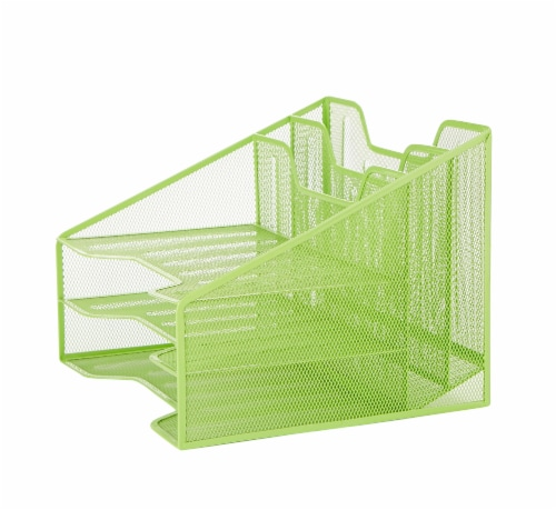 Mind Reader 5 Compartments Desk Organizer Tray - Green Perspective: right