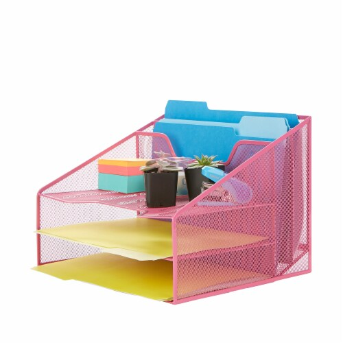 Mind Reader 5 Compartments Desk Organizer Tray - Pink Perspective: right