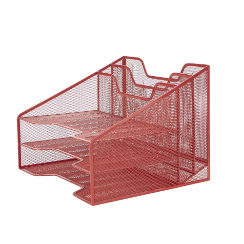 Mind Reader 5 Compartments Desk Organizer Tray - Red Perspective: right