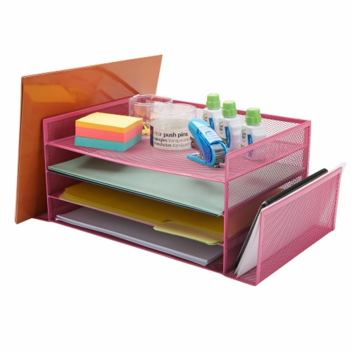 Mind Reader 6-Compartment Desk Organizer - Pink Perspective: right