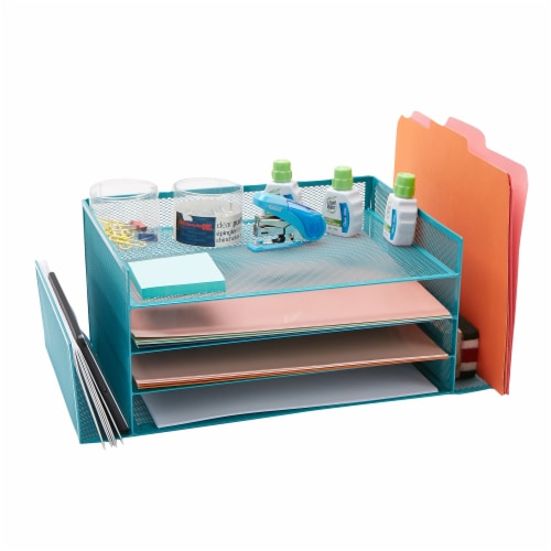 Mind Reader 6-Compartment Desk Organizer - Turquoise Perspective: right